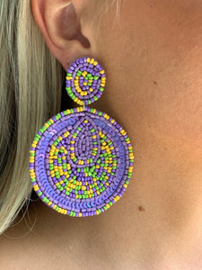 Beaded Disc Earring - Lavender Blend