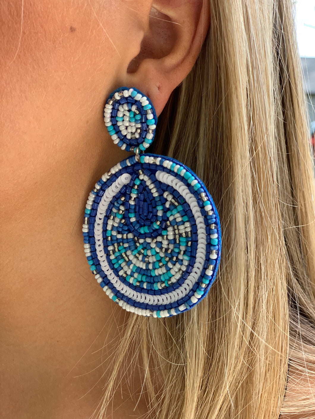 Beaded Disc Earring - Blue Blend