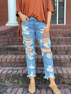 Mid Rise Heavy Destroyed Boyfriend Jeans