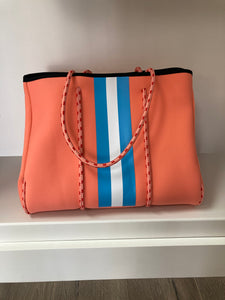 Parker & Hyde - Coral and Baby Blue Stripe