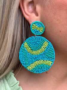 Tri-colored Disc Earrings - Green/Blue