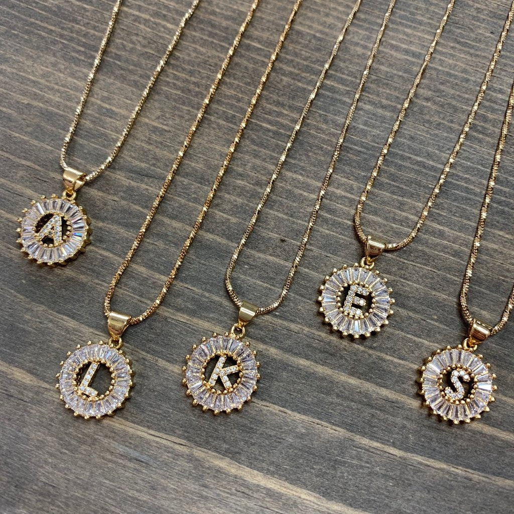 Round Initial Cubic Zirconia Necklace - Gold