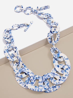 ZENZII - Blue Marbled Link Collar Necklace - Cobalt