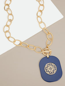ZENZII - Heather Links Pendant Collar Necklace - Navy