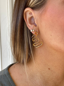 Squiggle Stud - Gold Dipped