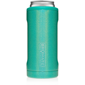 Brumate - Hopsulator Beer Cooler 12oz Slim Can | Glitter Peacock