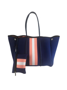 Parker & Hyde - Navy & Coral Stripe Tote