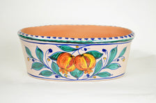 Italian Pomegranate-Lemon Hand Painted Oval Planter
