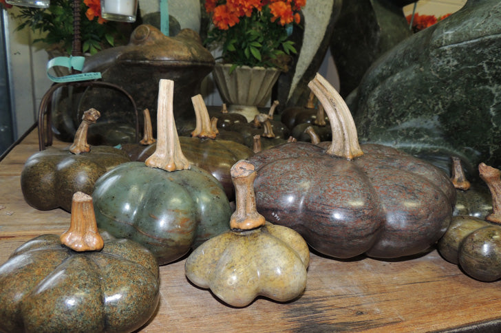 Hand Carved Stone Gourd 7""