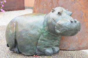 Hand Carved Fine Art African Hippo