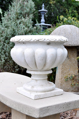 Aged Carved Marble Urn Medium