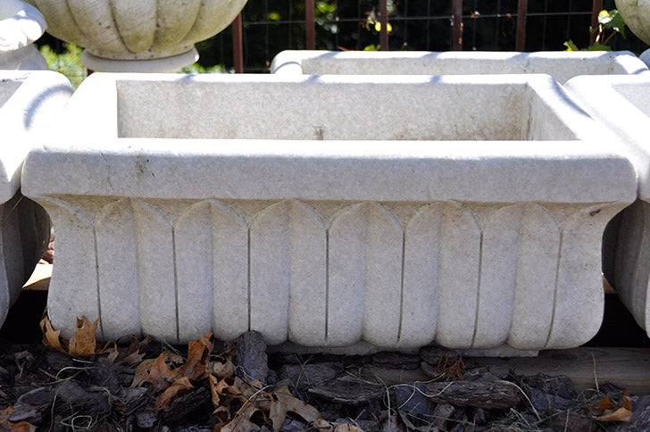 Aged Hand Carved Marble Trough Medium