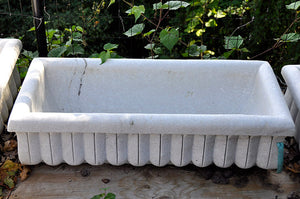 Aged Hand Carved Marble Trough Large
