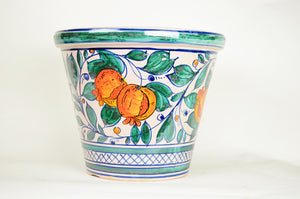 Italian Hand Painted Glazed Terra Cotta Planter-LG