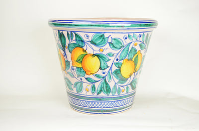 Italian Hand Painted Glazed Terra Cotta Planter-XLG