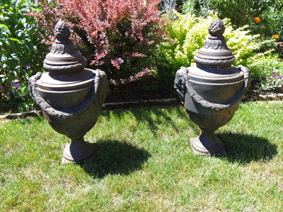 Pair Of Estate Neoclassic Lidded Vase Finial Urns