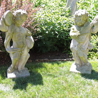 Pair Vintage Estate Putti Musician Statuary