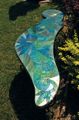 Artist Handcrafted Glass Bench