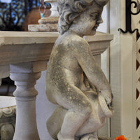 Aged Carved Stone Boy with Basin