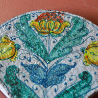 Fan Tile with Flowers