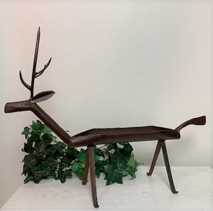 Rustic Deer Planter - Hand Wrought Iron