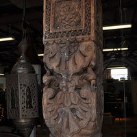Antique Wood Column with Marble Base