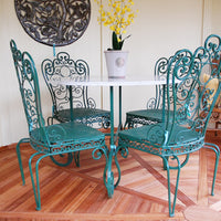 Old Italian Marble & Wrought Iron Garden Set