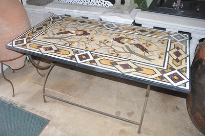 Pietre Dure Inlaid Table and Base