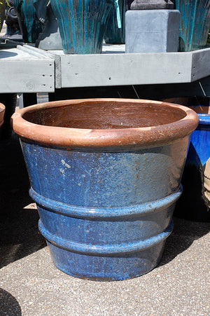 Tuscan Roll Rim Planter - Blue