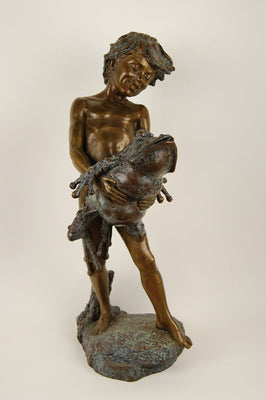 Bronze Boy with Frog Fountain - by Jim Ponter