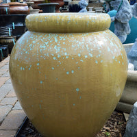 Lg. Glazed Jar Fountain - Swamp Glaze