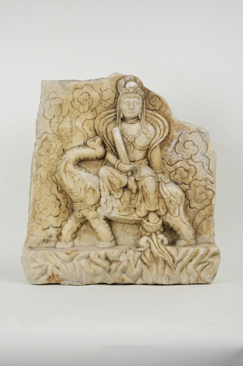 Antique Carved Stone Kwan Yin