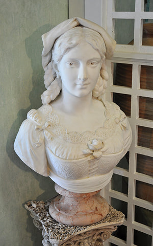 Country Maiden Marble Bust