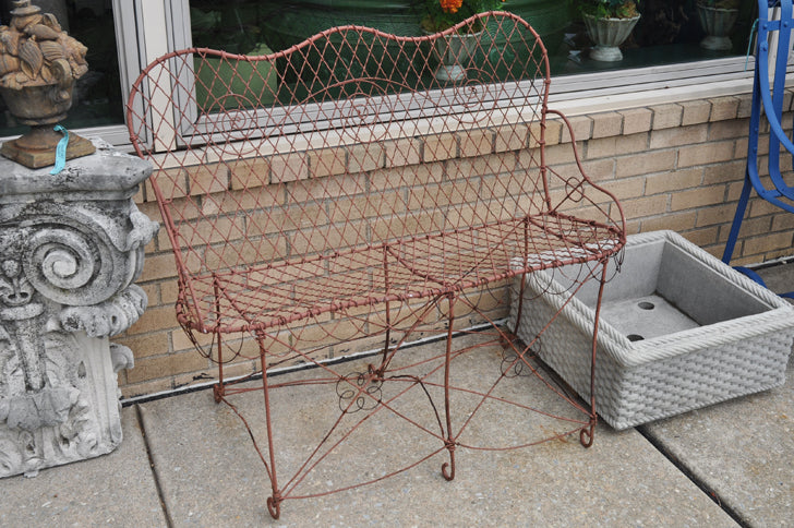 Incredible French Antique Wire Bench Pabps2019 Chair Design Images Pabps2019Com