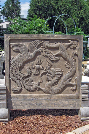 Stone Dragon & Phoenix Plaque