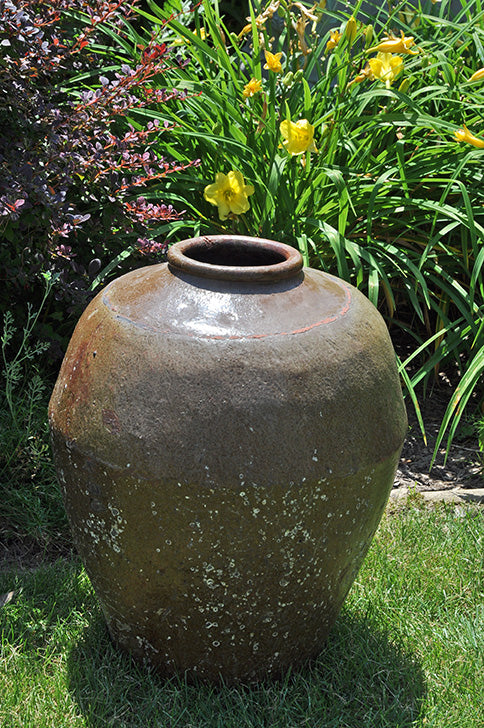 Antique Two-Color Clay Chinese Storage Jar
