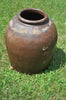Antique Brown Combed Jar with Character