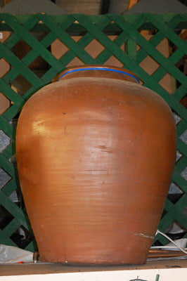 Antique Large Brown Jar with Character