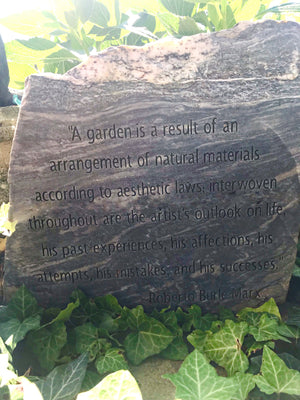 Engraved Stone With Quote from Roberto Burle Marx