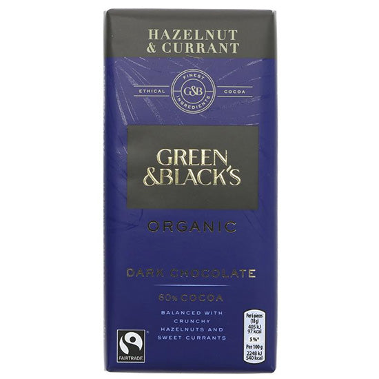 Hazelnut & Currant Dark Chocolate Bar Organic