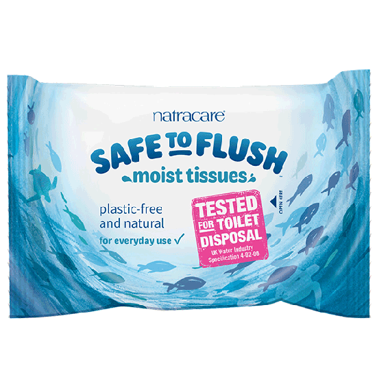 Safe to flush Moist Tissue Wipes plastic free
