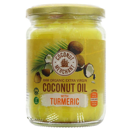Raw Coconut Oil Organic with Turmeric glass jar