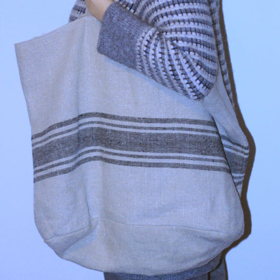 Striped Linen Tote Bag