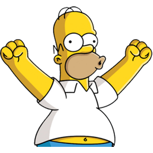 An excited Homer Simpson