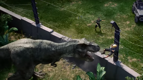 When a fence breaks in a park full of dinosaurs, you know it's not going to end well...