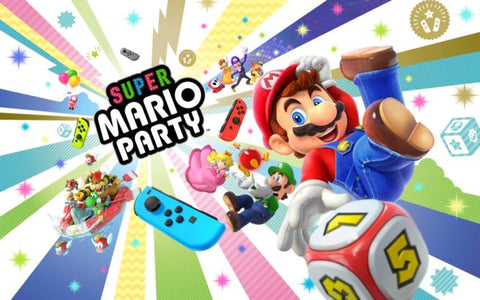 Super Mario gets the party started with this bright and bold retro funfest