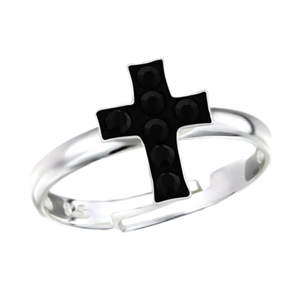 Children's Sterling Silver and Crystal Cross Adjustable Ring