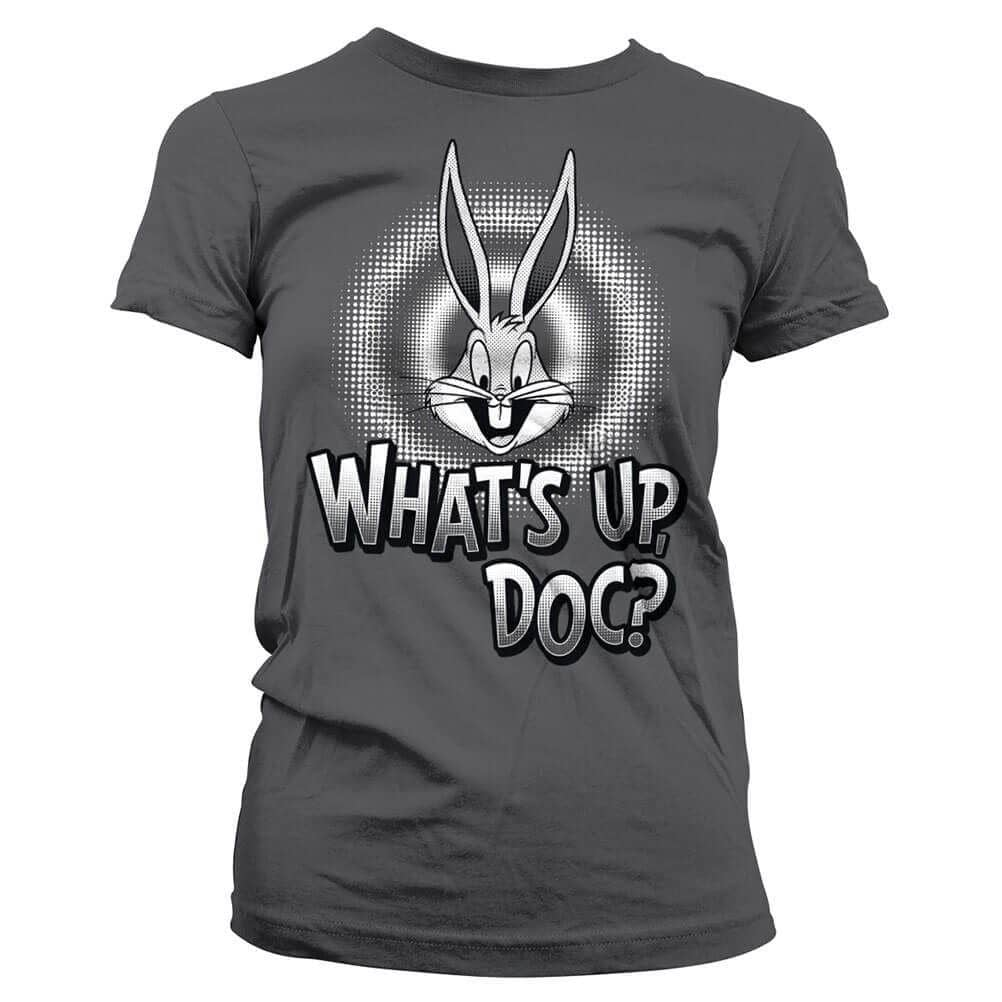 Women's Grey Looney Tunes T-Shirt Featuring Bugs Bunny and 'What's Up, Doc?' Design