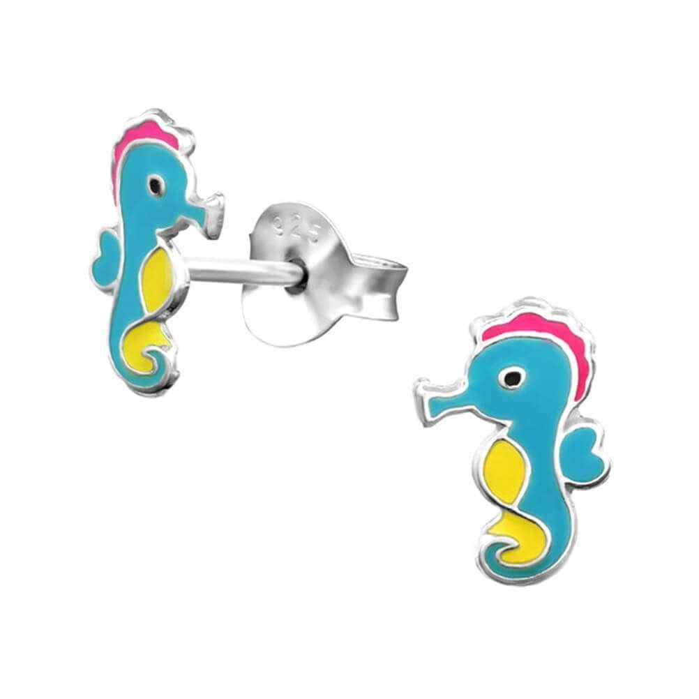 Children's Sterling Silver Seahorse Stud Earrings