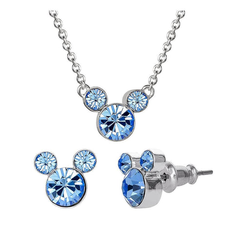 Disney Mickey Mouse Blue Stone Necklace and Earrings Set